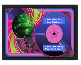 Disco theme Custom Full Color Plaque .  Black plaque with full color plate. 3 Plaques sizes available