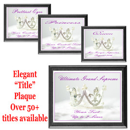 """Elegant """"Title"""" plaque.  Black plaque available in 5 sizes.  Over 50+ titles available.  Customize with your text."""