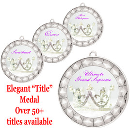 """Elegant Title Silver Medal 2 3/4"""" diameter with choice of insert.  Over 50+ titles available.  New titles!  Includes free neck ribbon and back of medal engraving."""