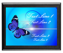 Butterfly theme Custom Full Color Plaque .  Black plaque with full color plate. 3 Plaques sizes available
