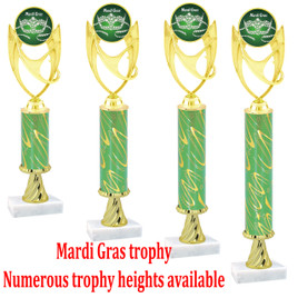 Green  Mardi Gras Trophy - Available in multiple heights.