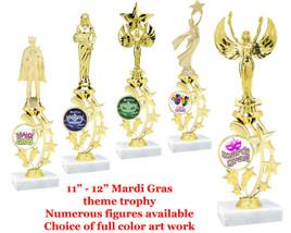 "Mardi Gras theme trophy.   11"" - 12"" tall*.  Choice of figure and art work."
