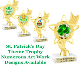 "6"" St. Patrick's Day theme trophy.  Choice of art work design   (ph27)"