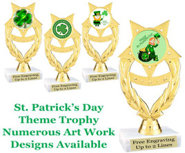 "6  1/2"" St. Patrick's Day theme trophy.  Choice of art work design   (ph97)"