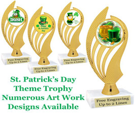 "6  1/2"" St. Patrick's Day theme trophy.  Choice of art work design   (ph102)"