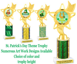 "St. Patrick's Day theme trophy.  Choice of art work, column color and trophy height.  Height starts at 10"".  (ph27)"