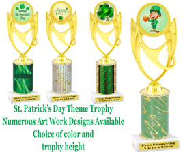 "St. Patrick's Day theme trophy.  Choice of art work, column color and trophy height.  Height starts at 10"".  (ph28)"