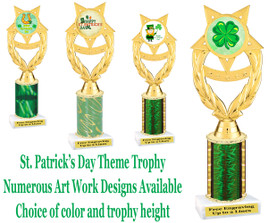 "St. Patrick's Day theme trophy.  Choice of art work, column color and trophy height.  Height starts at 10"".  (ph97)"