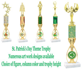 St. Patrick's Day themed trophy.  Choice of art work,  figure color,  and trophy height .