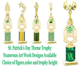 St. Patrick's Day themed trophy.  Choice of art work,  figure color,  and trophy height .  (002)