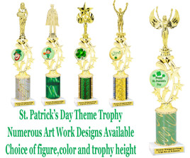 St. Patrick's Day themed trophy.  Choice of art work,  figure color,  and trophy height .  (003)