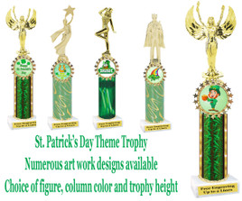 "St. Patrick's Day theme trophy.  Choice of art work, Figure, column color and trophy height.  Height starts at 10"".  (001)"