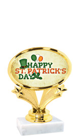 "St Patrick's Day theme trophy  4"" tall. (001)"