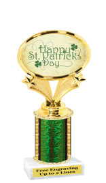 "St Patrick's Day theme trophy  6"" tall. (002)"
