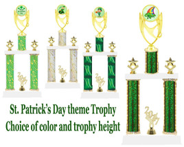 "St. Patrick's Day theme trophy.  2 Column with choice of art work, column color and trophy height.  Height starts at 14"".  (ph28)"