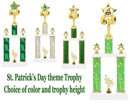"St. Patrick's Day theme trophy.  2 Column with choice of art work, column color and trophy height.  Height starts at 14"".  (7517)"