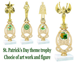 "St. Patrick's Day themed trophy.  11"" - 12"" tall. Choice of art work and  figure.  (002)"