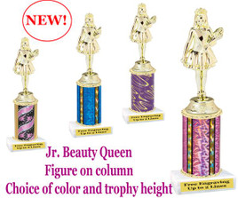 Gold Jr. Beauty Queen figure on choice of column color.  Numerous trophy heights available.