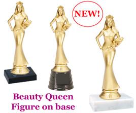 "Gold Sr.  Beauty Queen figure on base.  6"" tall"