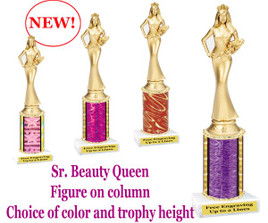Gold Sr. Beauty Queen figure on choice of column color.  Numerous trophy heights available.