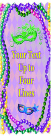 """Mardi Gras theme award ribbon.  Customize with your text!  3"""" wide x 8"""" long.  Great for scrapbooks!  (002)"""