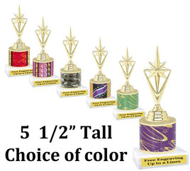 "5  1/2"" tall trophy with choice of color.  Great for side awards and participation.  (133-g)"