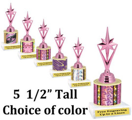 """5  1/2"""" tall trophy with choice of color.  Great for side awards and participation.  (133-h)"""