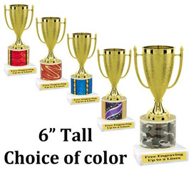 """6"""" tall trophy with choice of color.  Great for side awards and participation.  (2604)"""