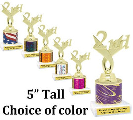 "5"" tall trophy with choice of color.  Great for side awards and participation.  (164g)"