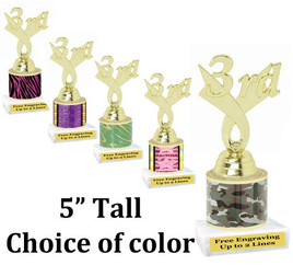 "5"" tall trophy with choice of color.  Great for side awards and participation.  (165g)"