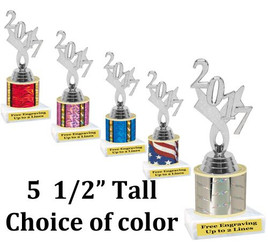 """Current  Year silver figure.   5  1/2"""" tall trophy with choice of color.  Great for side awards and participation.  (12917s)"""