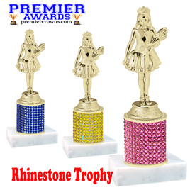 Rhinestone Trophy.  Bring some bling to your events with this beautiful trophy.   Choice of stone color and trophy height.  Includes free engraved name plate.  (mf836)