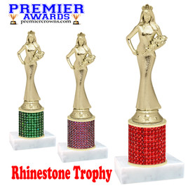 Bring some bling to your events with this  beautiful  trophy with rhinestone column and  gold Sr. Beauty Queen figure.  Choice of stone color and trophy height.  Includes free engraved name plate.  (mf840)