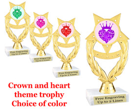 """6 1/2"""" tall trophy with choice of insert color.  (ph97)"""