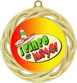 Cinco de Mayo Theme Medal.  Includes free back of medal engraving and neck ribbon  (938g)