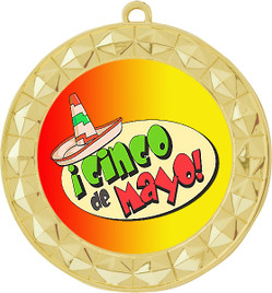 Cinco de Mayo Theme Medal.  Includes free back of medal engraving and neck ribbon  (935g)