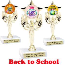 Back to School themed trophy.  9 Designs available. (7517