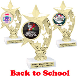 "6"" tall  Back to School themed trophy.  9 Designs available. (h208"