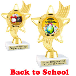 """6"""" tall  Back to School themed trophy.  9 Designs available. (ph27"""