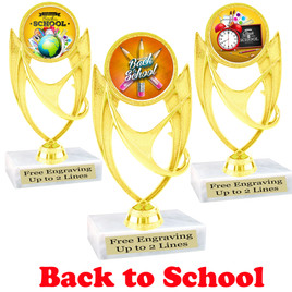 "6"" tall  Back to School themed trophy.  9 Designs available. (ph28"