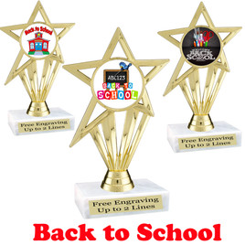 """6  1/2"""" tall  Back to School themed trophy.  9 Designs available. (ph30"""