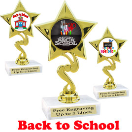 """"""" tall  Back to School themed trophy. 9 Designs available. (80106"""