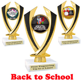 "6"" tall  Back to School themed trophy.  9 Designs available. (4516"