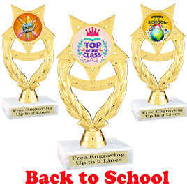 "6 "" tall  Back to School themed trophy.  9 Designs available. (ph97"