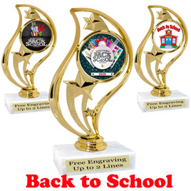 "6"" tall  Back to School themed trophy. 9 Designs available. (90126"
