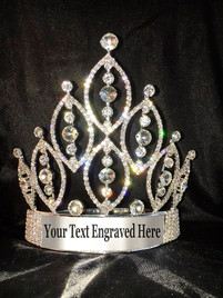 "CUSTOMIZABLE 6"" crown with adjustable band.  Crystal stones with silver plate and engraved text..  (CC-1285)"