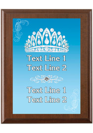 Custom Full Color Plaque.  Brown plaque with full color plate. 5 Plaques sizes available - Crown 01