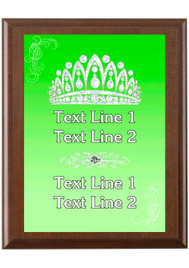 Custom Full Color Plaque.  Brown plaque with full color plate. 5 Plaques sizes available - Crown 02
