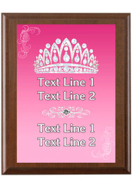 Custom Full Color Plaque.  Brown plaque with full color plate. 5 Plaques sizes available - Crown 03
