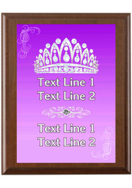 Custom Full Color Plaque.  Brown plaque with full color plate. 5 Plaques sizes available - Crown 04